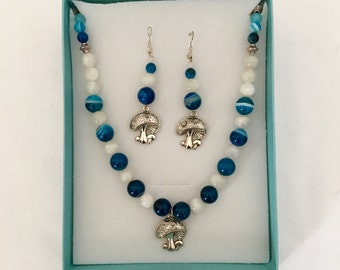 Moonstone and Blue Lace Agate Necklace and Earring Set