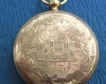 Antique Gold Filled Mourning Locket Victorian Jewelry Pendant