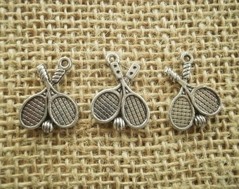 Set of 3 rackets silver-plated charms, size 20 mm