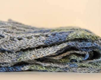 Chevron Scarf, Knit Scarf, Chevron Stripes, Men's Scarf, Gray, Blue, and Green Scarf, Wool Scarf, Fashion Scarf, Women's Scarf