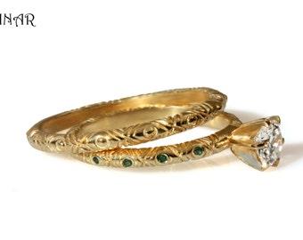 18k Gold Bridal wedding Set, half carat Diamond Engagement ring, tribal engraved Solitaire engagement ring, engraved bridal wedding ring set