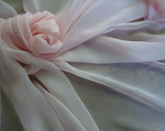 "42"" Wide Vintage Pink Chiffon Silk Fabric Vintage Silk for Wedding Decor Bridal Fabrics Formal Fabric Sheer Fabric 10 JM35 380"