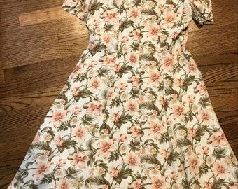 Vintage floral dress, vintage summer dress, floral print dress