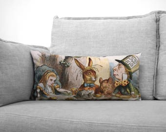 "alice in wonderland - lewis carroll - 12"" x 24"" velveteen lumbar pillow case - john tenniel illustration, 1865"