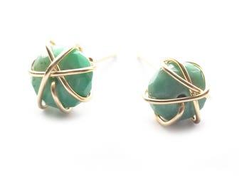 CHIBI stud earrings // Chrysoprase stud earrings // Gold filled stud earrings // Gemstone Stud Earrings // Dainty Jewelry // Cute earrings
