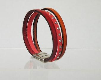 Red, orange leather bracelet