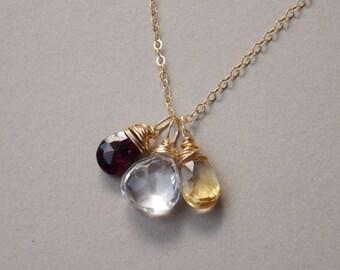 Birthstone Gemstone Necklace, Mom Birthstone Jewely, Personalized Gemstone Necklace, Family birthstone Necklace, Bridesmaids Gift Jewelry