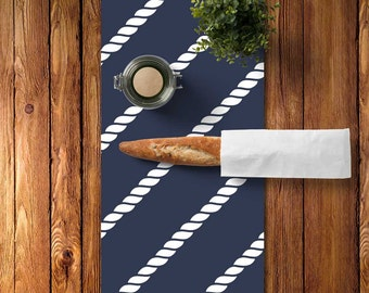 45 colors Nautical Table Decor, Nautical Table Runner Blue, Nautical Rope Table Runner Navy Blue, Lake Table Runner, Hostess Gift