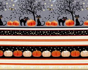 METALLIC Halloween Stripe From Henry Glass & Co Halloween Midnight Spell Collection Designed by First Blush Studio 100% Cotton