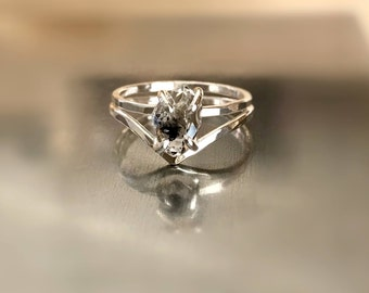 Diamond Engagement Ring, White Gold Engagement Ring, Promise Ring, Herkimer Ring, Engagement Rings, Black Diamond Ring