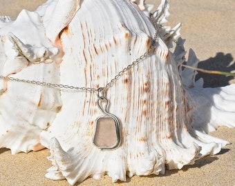 White sea glass pendant, handmade pendant, sea glass, sea glass jewellery, beach glass jewellery, bezel set sea glass, sea glass pendant