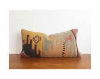 Vintage Kilim Lumbar Pillow / 12x24