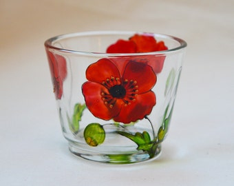 Poppy design candle cup, hand painted glass, tea-light holder, glassware