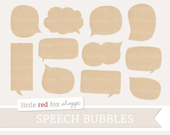 Kraft Speech Bubble Clipart, Thought Cloud Clip Art, Speech Cloud Clipart, Text Bubble Clipart, Digital Graphic Design Small Commercial Use