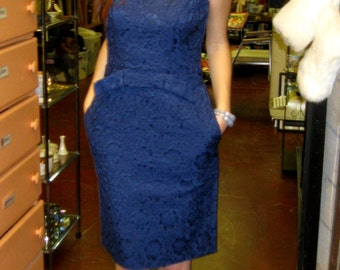 1960s Dark Blue Wiggle Dress