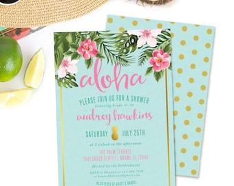 Gold Pineapple Tropical Shower Invitation, Prints, Hawaiian Luau Invite, Aloha, Bridal, Baby, Wedding, Birthday, Graduation, Palm, Printed