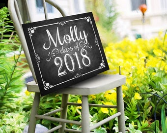 Class of 2018 Personalized Graduation Sign, Printable Digital Graduation Party Sign, Congrats Class of 2018, Graduation party Decorations