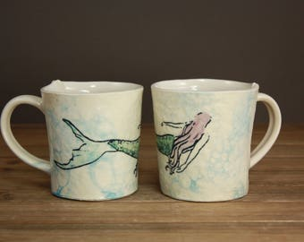 Mermaid Mug| Ocean Minded Arts| Gift for Beach Lover| Mermaid Love| Inspirational Cup| Illustrated| Clay Cup