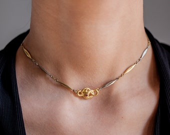 Snake Necklace 18K Gold Plated Silver and Rubywith Vintage French Chain Serpent Jewelry Memento Mori Victorian Style