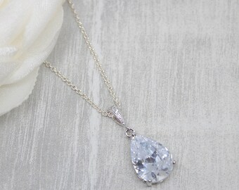 Necklace 925 silver crystal drops bridal jewelry wedding