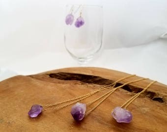 Raw Amethyst Necklace, February Birthstone Neckclace, February Birthstone Pendant, Amethyst Neckclace, Purple Choker Necklace