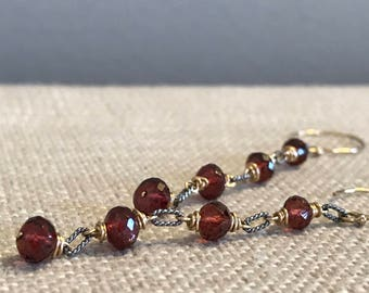 Garnet and Twisted Link Earring