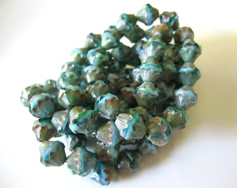 Turquoise Green Blue Baroque Bicone Glass Beads Aqua Czech Glass Beads Blue Czech Beads Bicone Green Beads 11x10mm (4 pcs) 250V3