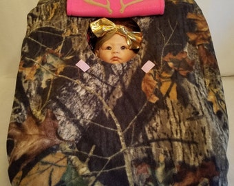 "Car Seat Carrier Cover True Timber Kanati & Bright Pink Camo Baby! Cozy Hand Made Infant Fleece Custom Embroidery ""My Little Dear"" n Antlers"