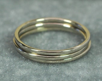 Skinny Stacking Gold Rings, Set of 3, 1mm Bands in 14K Palladium White Gold, Eco Friendly Shop, Sea Babe Jewelry