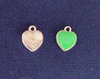 2 green metal heart charms gold