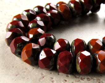 Czech Glass Beads 8 x 6mm Opaque Rust Brown and Burnt Orange w/ Olive Green Accents Faceted Rondelles - 25 Pieces