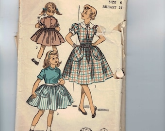 1950s Vintage Girls Sewing Pattern Advance 6642 Girls Full Skirted Dress with Collar and Large Pocket Size 6 Breast 24 50s  99