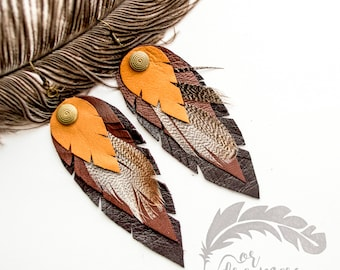Brown  Earrings  Feather Earrings Leather Feather Long Earrings Boho Earrings Boho Jewelry Handmade Leather Jewelry