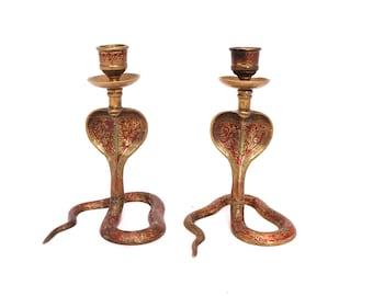 Vintage Brass Cobra Candle Holders, Pair of Small Snake Candle Sticks, Boho Enameled Cobra, Indian Brass Snake, Engraved Brass Cobra Snake