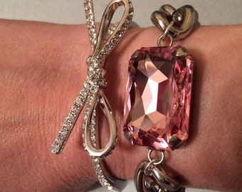 Crystal Silver Chunky Curb Chain Bracelet
