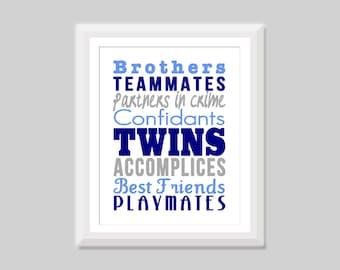 Twin Boy Nursery Art, Twin Brothers Print, Twin Nursery Decor, Twin Boys Nursery Decor, Gift for Twin Boys