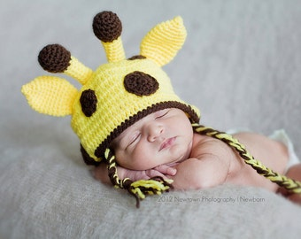 Baby Giraffe Hat, Giraffe Hat, Newborn Giraffe Hat, Baby Hat, Newborn Photo Prop, Newborn Hat, Giraffe Photo Prop