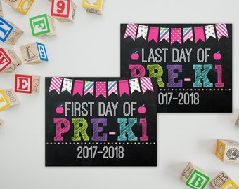 First Day Of Pre-K1 Sign - PreK Sign - Print Yourself 1st Day of Preschool Sign - Back to School Sign - 1st Day of School Chalkboard