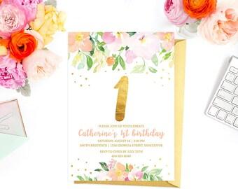 1st Birthday Invitation, Floral First Birthday Invitation, Girl First Birthday Invitation, Kids Birthday Invitation, Faux Gold Foil Invite