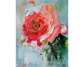 Bright Pink Garden Rose - Original Floral Oil Painting Small Flower Impressionist Art Linen Canvas Flowers Roses Abstract Impasto Thick