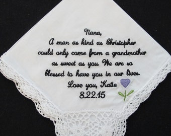 Embroidered Wedding Handkerchief for the Grandmother of the Groom