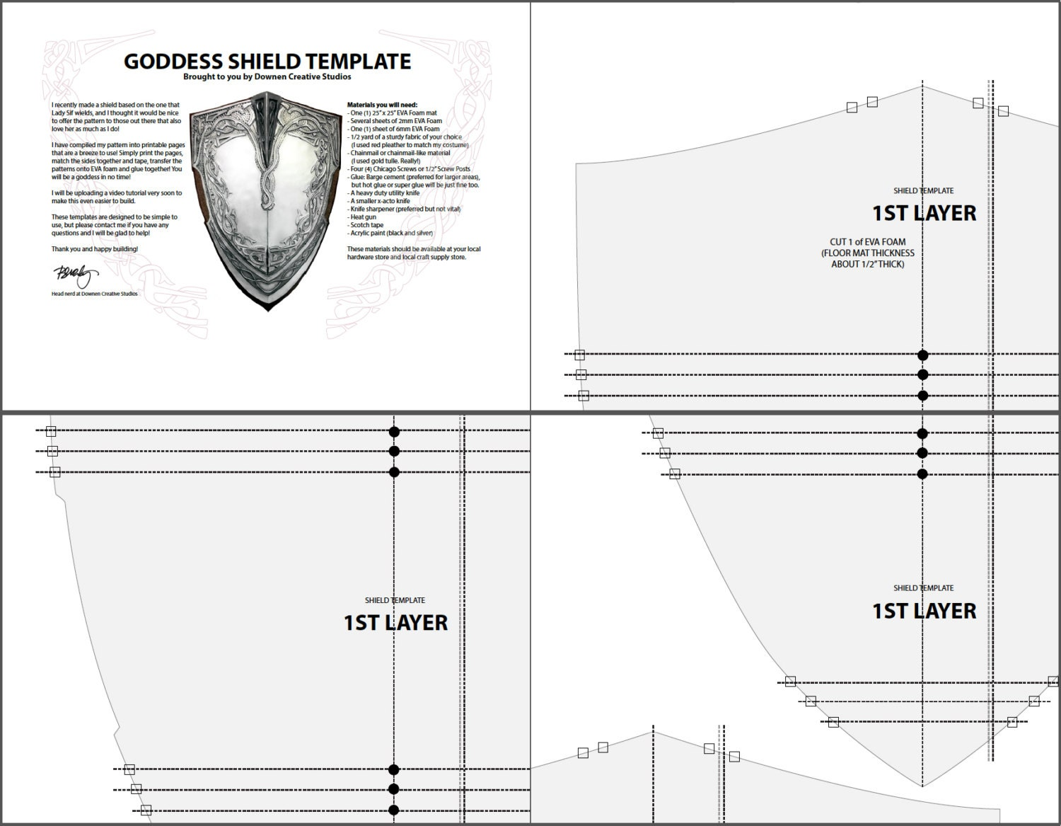 Lady Sif Goddess Shield Template from DownenCreativeStudio on Etsy ...