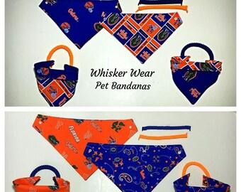 Florida football fabric , reversible custom pet bandana, No-tie, dog scarf, dog bandana, pet scarf, dog attire, gators, college football