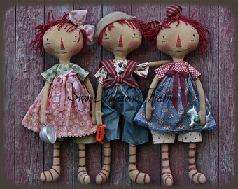Primitive Annie Andy Doll Epattern remake of  Raggedy Sprouts