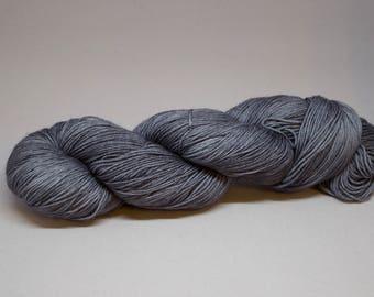 Hand Dyed sock yarn semi-solid Gray - Superwash Merino/Nylon blend 4-ply
