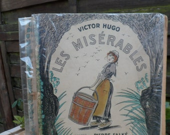 Book miserable, French, French writer Victor Hugo, photos images Pierre Falke, old book, book