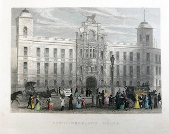 Original antique print, Northumberland House, beautifully drawn and subtly hand coloured small print to frame.