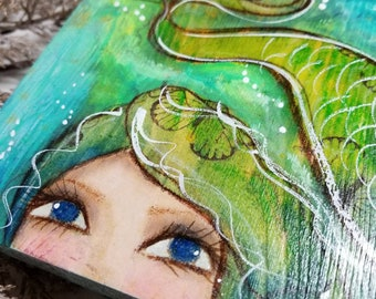 Peek A Boo Mermaid ORIGINAL mixed media art. Mini painting. Emerald & turquoise