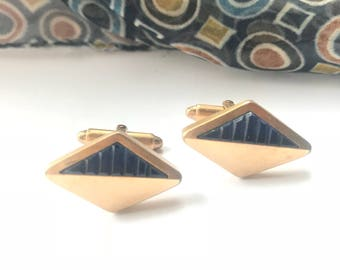 Atomic Style Cuff Links, Geometric, Blue Lucite, Gold Tone, Vintage 60s, Free US Shipping