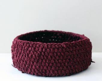 Large Burgundy Bordo Crochet Basket Recycled Satin Yarn Natural Material Eco - Friendly Home Decor